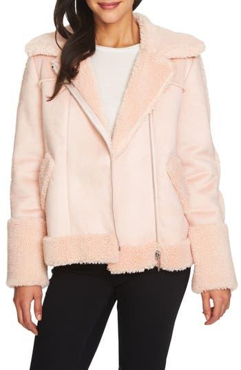 Women's 1.state Faux Shearling Moto Jacket, Size XX-Small - Pink