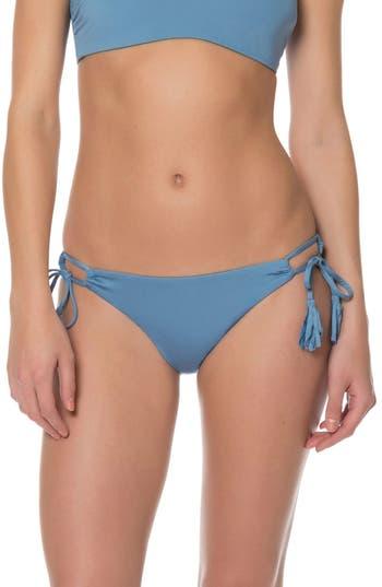 Red Carter Side Tie Bikini Bottoms, Blue
