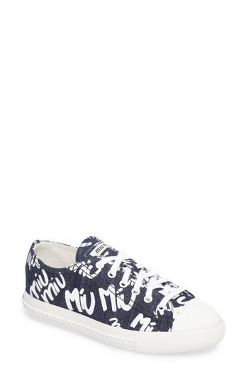 Miu Miu Logo Low Top Sneaker - Blue