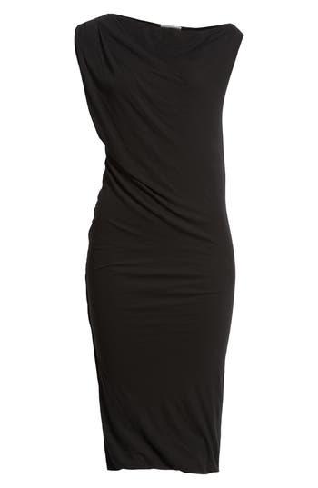 James Perse Draped One-Shoulder Midi Dress, Black