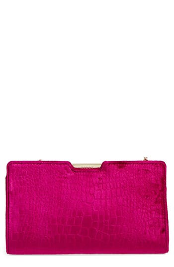 Milly Croc Embossed Velvet Frame Clutch - Purple