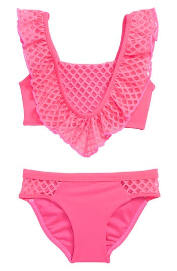 Girl's Little Peixoto Blake Ruffle Two-Piece Swimsuit, Size 4 - Pink