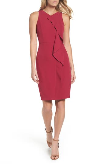 Adrianna Papell Stretch Crepe V-Neck Sheath, Pink
