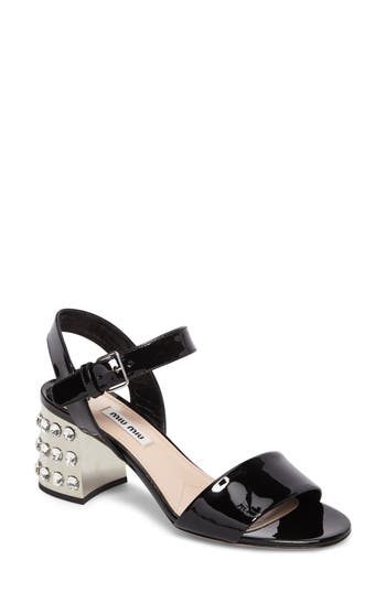Women's Miu Miu Crystal Embellished Block Heel Sandal at NORDSTROM.com
