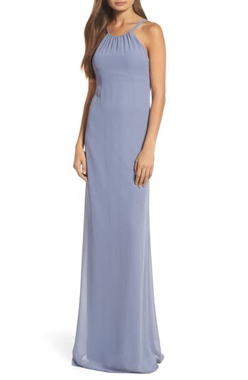 Nouvelle Amsale Strappy High Neck Chiffon Gown, Grey