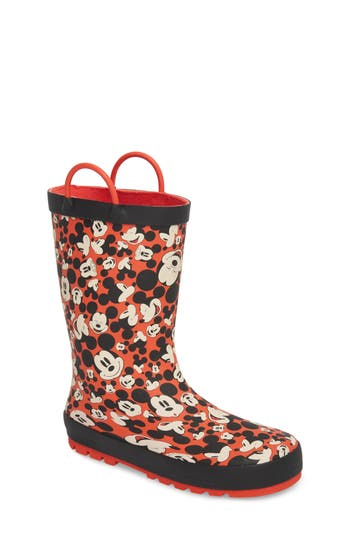 Toddler Western Chief Happy Mickey Rain Boot, Red