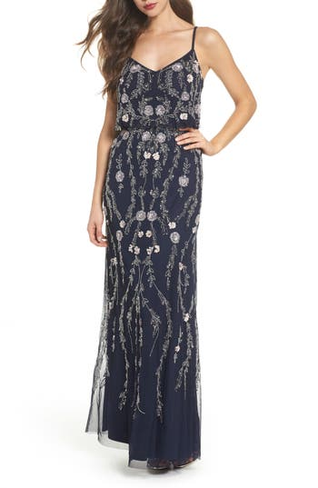 Adrianna Papell Mesh Blouson Gown, Blue