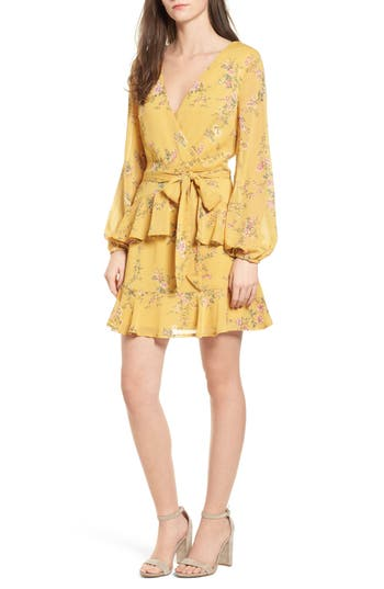Women's Love, Fire Floral Wrap Style Dress, Size X-Small - Yellow