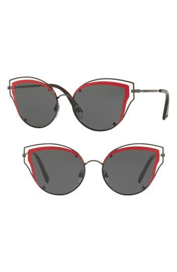 Women's Valentino 58Mm Layered Frame Aviator Sunglasses - Pink Havana