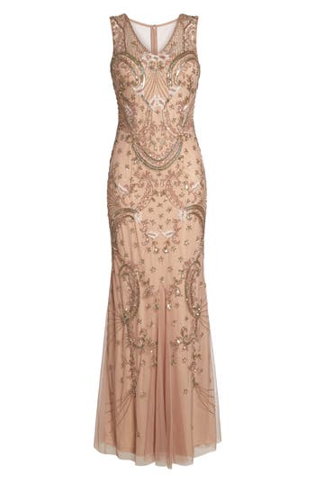 Adrianna Papell Beaded Mesh Dress, Pink