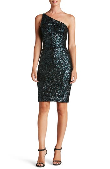 Dress The Population Cher One-Shoulder Sequin Body-Con Dress, Blue