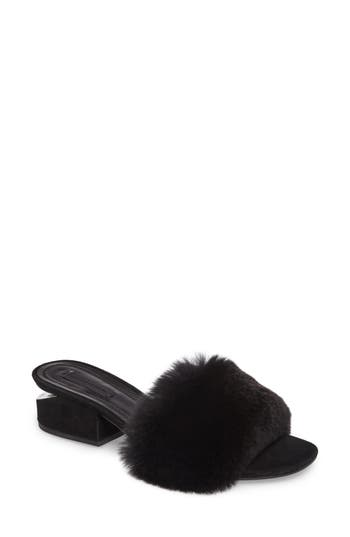 Alexander Wang Lou Genuine Rabbit Fur Slide, Black