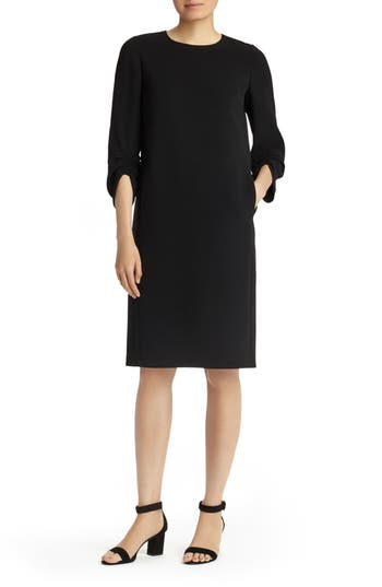 Lafayette 148 New York Tory Finesse Crepe Dress, Black
