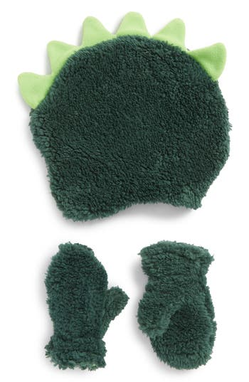 Infant Nolan Glove Dinosaur Hat & Mittens Set - Green