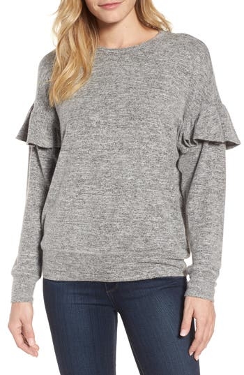 Women's Bobeau Ruffle Sleeve Sweatshirt, Size Small - White