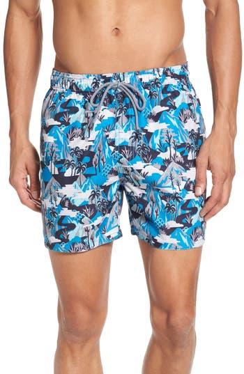 Ted Baker London Karner Print Swim Trunks, Blue