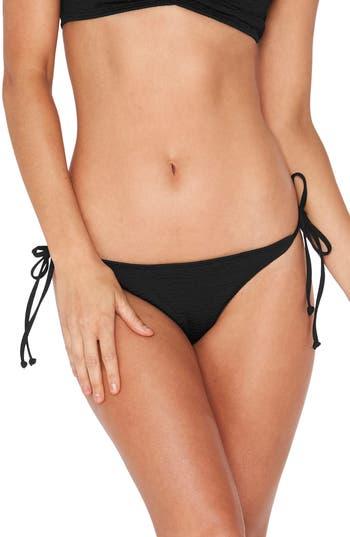 L Space Lily Pucker Tie Side Bikini Bottoms, Black