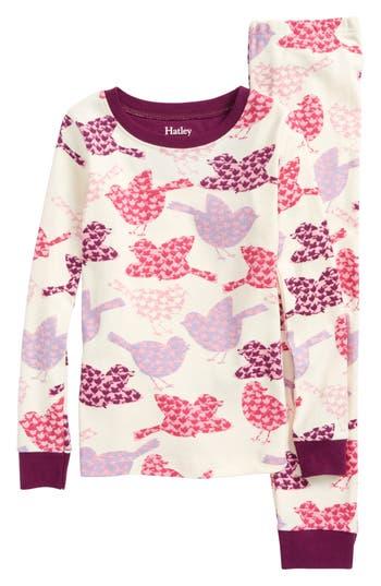 Girls Hatley Bird Print Organic Cotton Fitted TwoPiece Pajamas