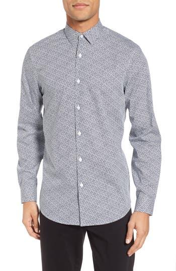 Calibrate Trim Fit Geometric Sport Shirt, Blue