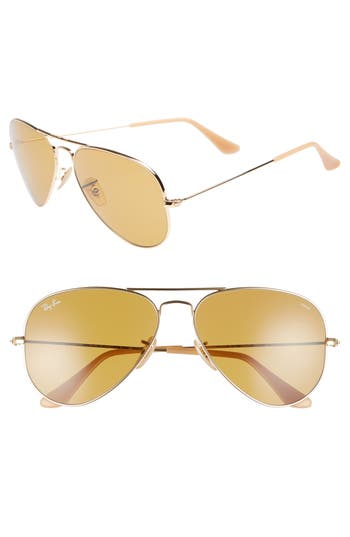 Ray-Ban Evolve 5m Polarized Aviator Sunglasses - Gold/ Brown