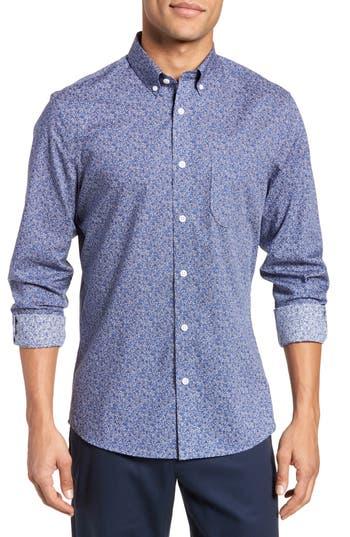 Nordstrom Shop Slim Fit Floral Sport Shirt, Blue