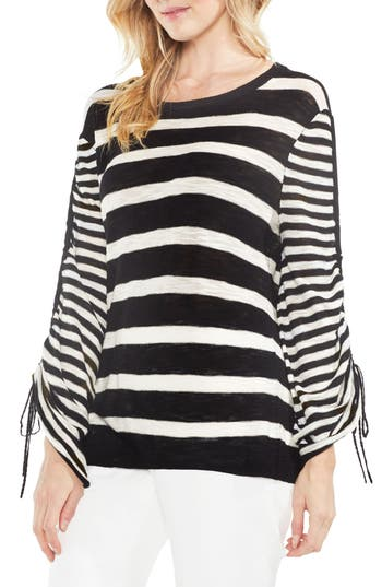 Women's Vince Camuto Drawstring Sleeve Stripe Sweater, Size XX-Small - White