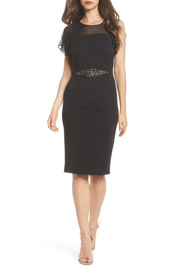 Adrianna Papell Embellished Crepe Sheath Dress, Black