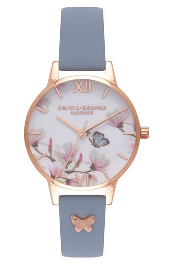 Women's Olivia Burton Pretty Blossom Leather Strap Watch, 30Mm