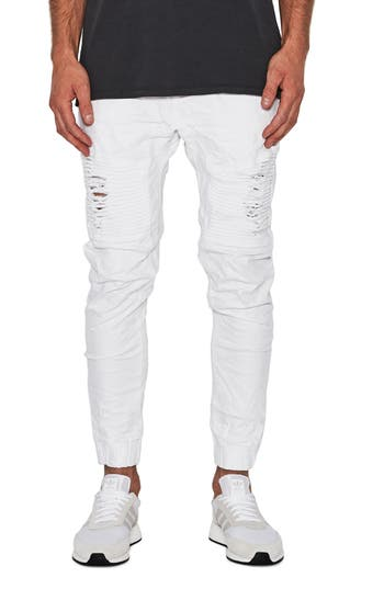 Men's Nxp Destroyer Moto Denim Jogger Pants, Size 30 - White