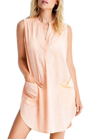 Women's Seafolly Palm Beach Cover-Up Dress, Size Large - Pink