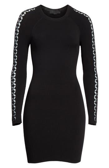 Alexander Wang Open Knit Sleeve Dress, Black