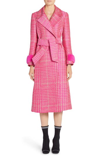 Women's Fendi Pop Genuine Mink Fur Trim Prince Of Wales Check Coat, Size 10 US / 46 IT - Pink