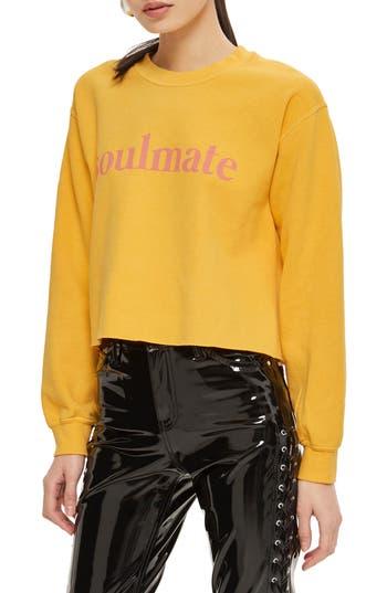 Women's Topshop Soulmate Graphic Crop Sweatshirt, Size Medium - Yellow