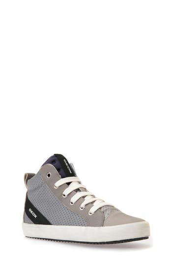 Boys Geox Alonisso Perforated Mid Top Sneaker Size 6US  39EU  Grey