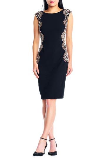 Adrianna Papell Beaded Crepe Sheath Dress, Black