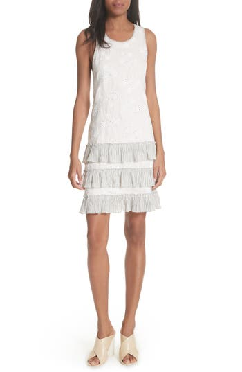 Rebecca Taylor Garden Eyelet Linen Shift Dress, White