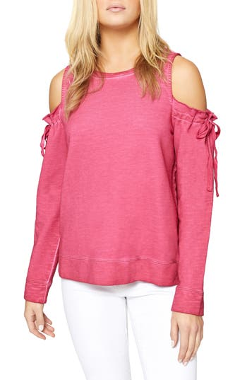 Women's Sanctuary Parkside Cold Shoulder Sweatshirt, Size X-Small - Pink