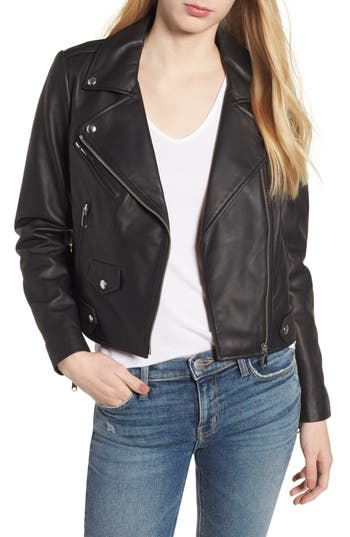 Rebecca Minkoff Wes Leather Moto Jacket, Black