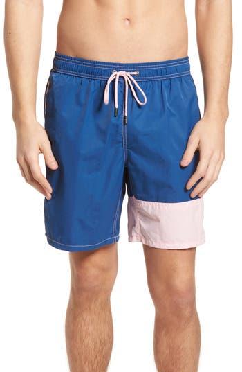 Mr. Swim Colorblock Print Swim Trunks, Blue