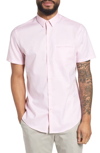 Calibrate Trim Fit Jaspe Short Sleeve Sport Shirt, Pink
