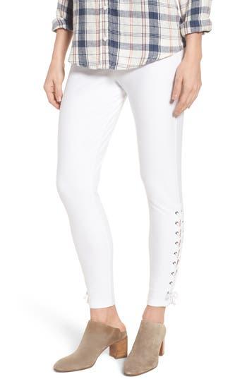 Nordstrom Lace-Up Denim Leggings, White