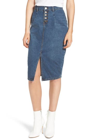 Lost Ink Denim Skirt, Blue