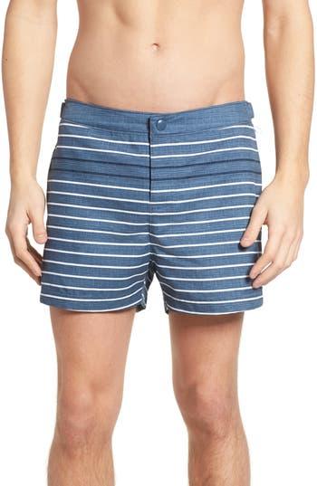 Original Penguin Feeder Stripe Board Shorts, Blue