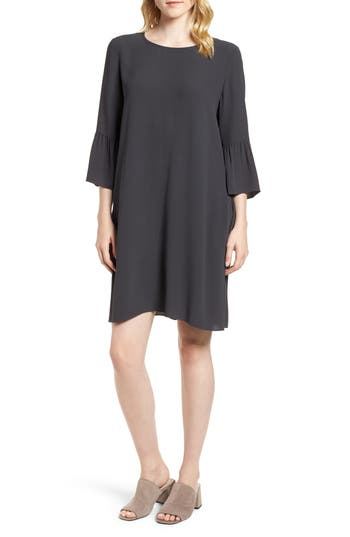 Eileen Fisher Flare Sleeve Silk Dress, Grey