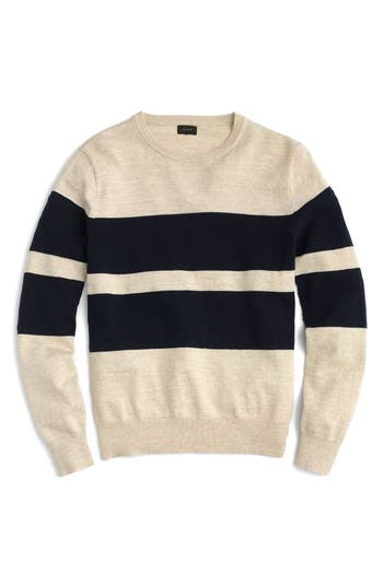 J.crew Slim Fit Uneven Budding Stripe Sweater, Blue