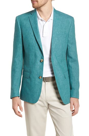 Men's Nordstrom Men's Shop Trim Fit Linen Blazer, Size 42 R - Blue/green