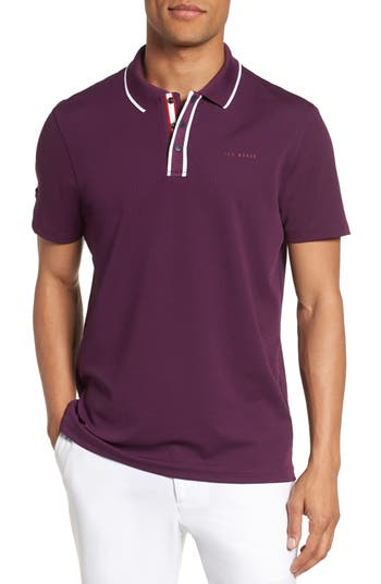 Men's Ted Baker London Bunka Trim Fit Golf Polo, Size 4(l) - Purple