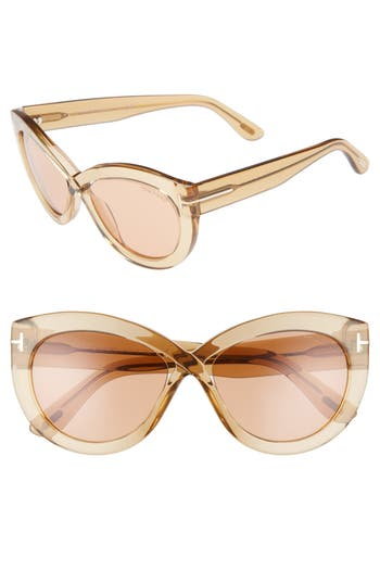 Tom Ford Diane 5m Butterfly Sunglasses - Transparent Champagne/ Brown