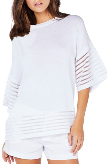 Michael Stars Shadow Stripe Pullover, White