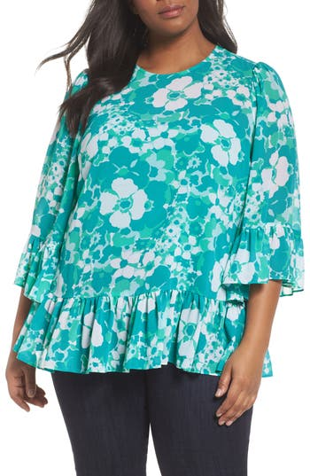 Plus Size Women's Michael Michael Kors Springtime Floral Ruffle Top, Size 0X - Blue